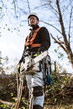 Lumberjack with chainsaw and harness going to prune a tree. Stock Image