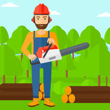 Lumberjack with chainsaw. Stock Image