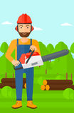 Lumberjack with chainsaw. Stock Photo