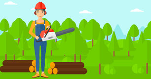 Lumberjack with chainsaw. Stock Images