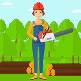 Lumberjack with chainsaw. Royalty Free Stock Photos