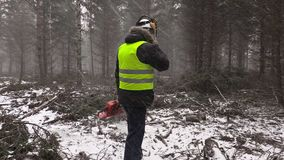 Lumberjack with chainsaw talking on cell phone in heavy snow storm stock video footage