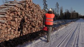 Lumberjack with chainsaw talking on phone near snow covered logs. In winter day stock video footage