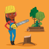 Lumberjack with chainsaw vector illustration. An african-american lumberjack holding chainsaw. Lumberjack in workwear, hard hat and headphones at the forest Stock Photo