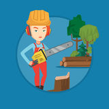 Lumberjack with chainsaw vector illustration. Stock Photo