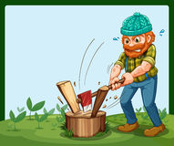 A lumberjack chopping the wood Stock Image