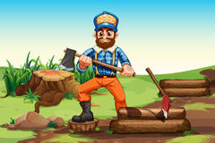 A lumberjack chopping woods. Illustration of a lumberjack chopping woods stock illustration