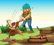 A lumberjack chopping woods Stock Image