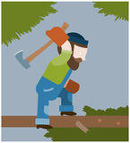 Lumberjack chops off branches from a tree Stock Photo