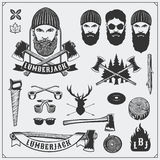 Lumberjack collection. Lumberjack characters and tools. Axes, saws and trees. Vintage style. Royalty Free Stock Photography