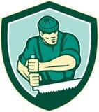 Lumberjack Crosscut Saw Shield Retro Royalty Free Stock Photos