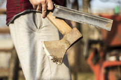 Lumberjack. Cutting down the tree whit an ax Royalty Free Stock Photography