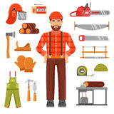 Lumberjack Decorative Flat Icons Set Royalty Free Stock Photos
