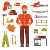Lumberjack Decorative Flat Icons Set Royalty Free Stock Photos