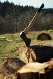 Lumberjack Equipment - ax. Chopping trees for firewood, country job Royalty Free Stock Photography
