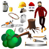 Lumberjack. Equipment lumberjack hipster.Vector elements icons vector illustration on a white background. Lumber Royalty Free Stock Image