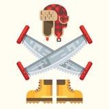The lumberjack equipment icon set. Royalty Free Stock Photography