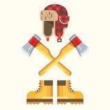 The lumberjack equipment icon set. Royalty Free Stock Images
