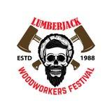 lumberjack Festival dei falegnami Modello dell'emblema con il cranio e gli scuri Fotografia Stock Libera da Diritti