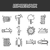 Lumberjack flat icon set Royalty Free Stock Image