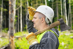 Lumberjack in the forest Stock Photography