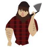 Lumberjack. Freehand drawn tough lumberjack holding an axe Stock Images