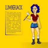 Lumberjack girl with ax Stock Photos