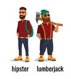 Lumberjack and hipster in the yellow shoes and a red plaid shirt. Vector flat illustration on white background Royalty Free Stock Images