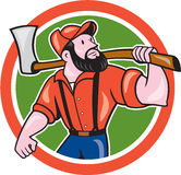 LumberJack Holding Axe Circle Cartoon Stock Photos