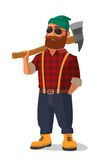 Lumberjack holding an axe over his shoulder.  Yellow shoes and red plaid shirt. Stock Photo