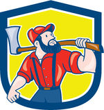 LumberJack Holding Axe Shield Cartoon Royalty Free Stock Photography