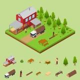 Lumberjack i tartak Buduje Isometric widok wektor Fotografia Stock