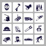 Lumberjack Icon Set Royalty Free Stock Photography