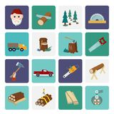 Lumberjack icon set flat Stock Images