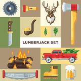 The lumberjack icon set. In a modern flat vector style. Lumberjack equipment and stuff presented in a separated backrounds. Great idea and colors Stock Photo