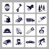 Lumberjack icon set Royalty Free Stock Photography