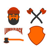Lumberjack icon set. Woodcutter sign. lumberman symbol. feller w Royalty Free Stock Photography