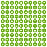 100 lumberjack icons hexagon green. 100 lumberjack icons set in green hexagon isolated vector illustration Stock Images