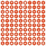 100 lumberjack icons hexagon orange. 100 lumberjack icons set in orange hexagon isolated vector illustration Royalty Free Stock Photo
