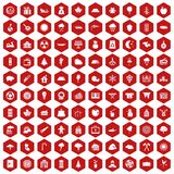 100 lumberjack icons hexagon red. 100 lumberjack icons set in red hexagon isolated vector illustration Stock Illustration