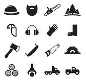 Lumberjack Icons Stock Photography