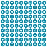 100 lumberjack icons sapphirine violet. 100 lumberjack icons set in sapphirine hexagon isolated vector illustration vector illustration
