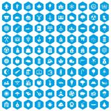 100 lumberjack icons set blue. 100 lumberjack icons set in blue hexagon isolated vector illustration Royalty Free Illustration