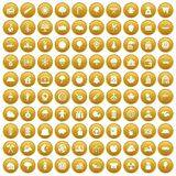 100 lumberjack icons set gold. 100 lumberjack icons set in gold circle isolated on white vectr illustration Vector Illustration