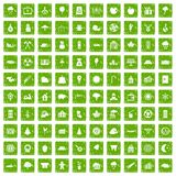 100 lumberjack icons set grunge green Royalty Free Stock Images