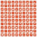 100 lumberjack icons set grunge orange. 100 lumberjack icons set in grunge style orange color isolated on white background vector illustration Royalty Free Stock Image