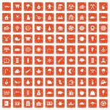 100 lumberjack icons set grunge orange. 100 lumberjack icons set in grunge style orange color isolated on white background vector illustration vector illustration