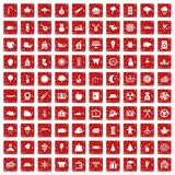 100 lumberjack icons set grunge red. 100 lumberjack icons set in grunge style red color isolated on white background vector illustration Royalty Free Illustration