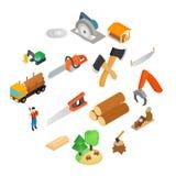 Lumberjack icons set, isometric 3d style. Lumberjack icons set in isometric 3d style isolated on white royalty free illustration