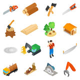 Lumberjack icons set, isometric 3d style Royalty Free Stock Image